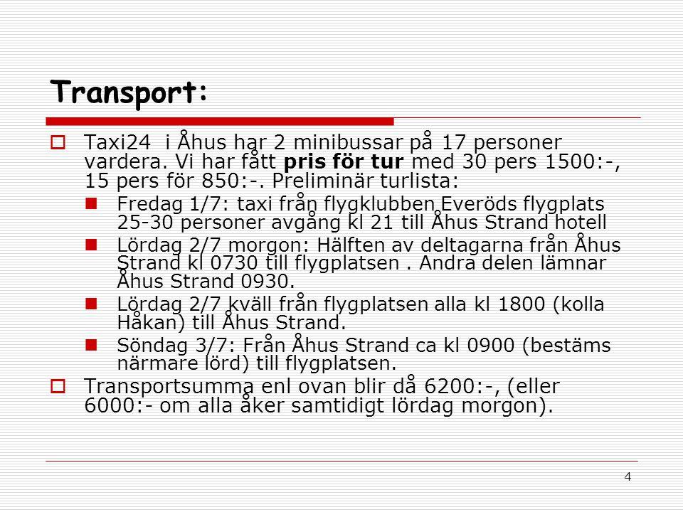 4 Transport:  Taxi24 i Åhus har 2 minibussar på 17 personer vardera.