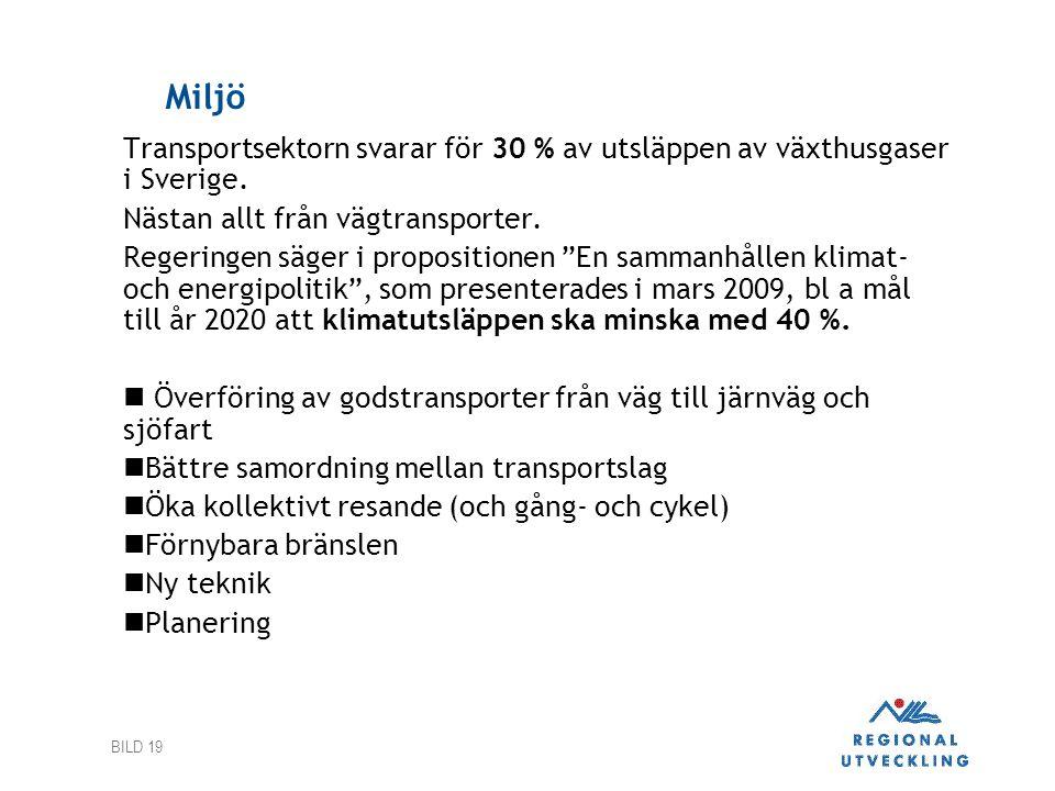 BILD 19 Miljö Transportsektorn svarar för 30 % av utsläppen av växthusgaser i Sverige.