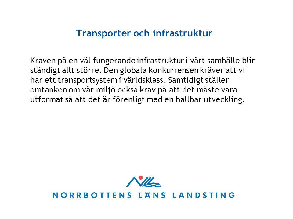 Transporter och infrastruktur Kraven på en väl fungerande infrastruktur i vårt samhälle blir ständigt allt större.