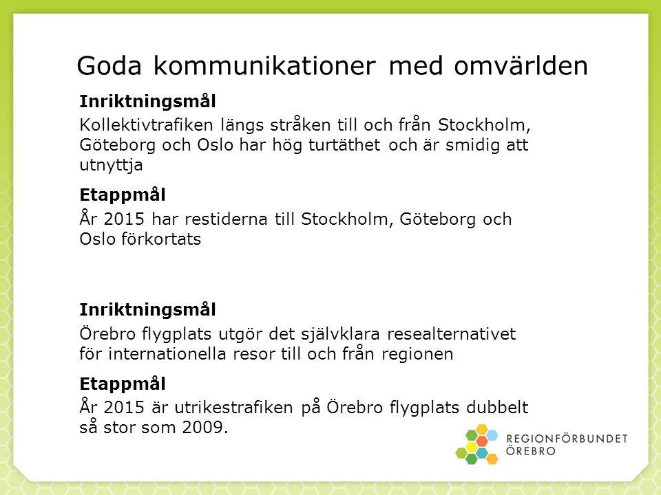 Goda kommunikationer med omvärlden Inriktningsmål Kollektivtrafiken längs stråken till och från Stockholm, Göteborg och Oslo har hög turtäthet och är