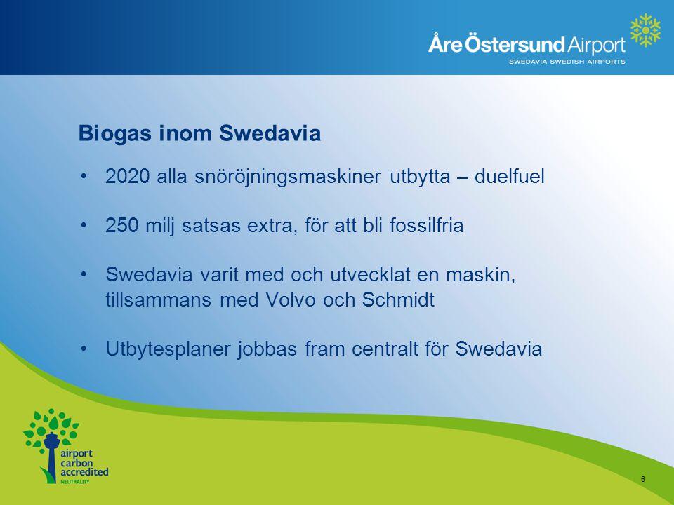 Biogas inom Swedavia 2020 alla snöröjningsmaskiner utbytta – duelfuel 250 milj satsas extra, för att bli fossilfria Swedavia varit med och utvecklat e