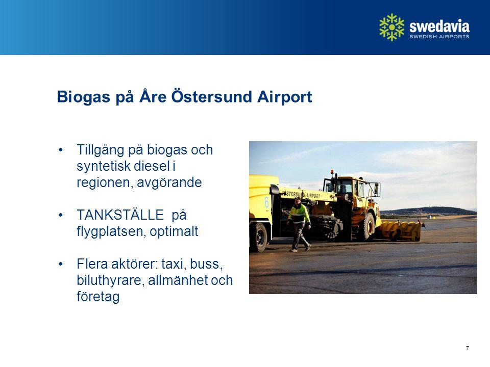 Biogas på Åre Östersund Airport Tillgång på biogas och syntetisk diesel i regionen, avgörande TANKSTÄLLE på flygplatsen, optimalt Flera aktörer: taxi,