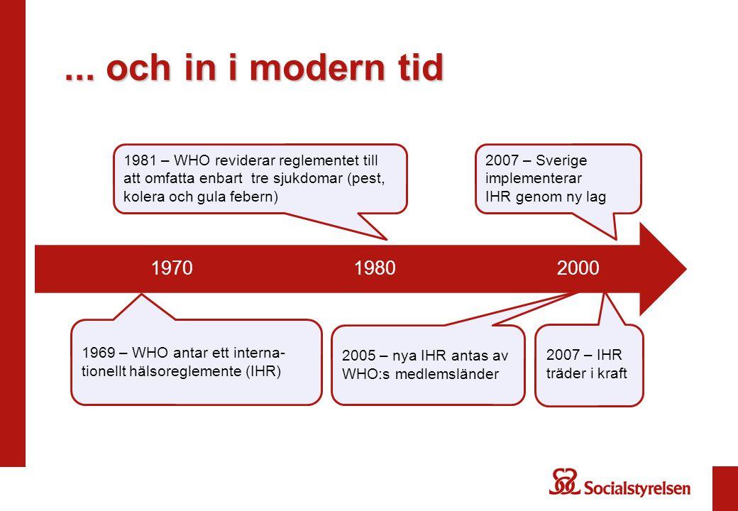 200019801970 1969 – WHO antar ett interna- tionellt hälsoreglemente (IHR) 2005 – nya IHR antas av WHO:s medlemsländer 1981 – WHO reviderar reglementet