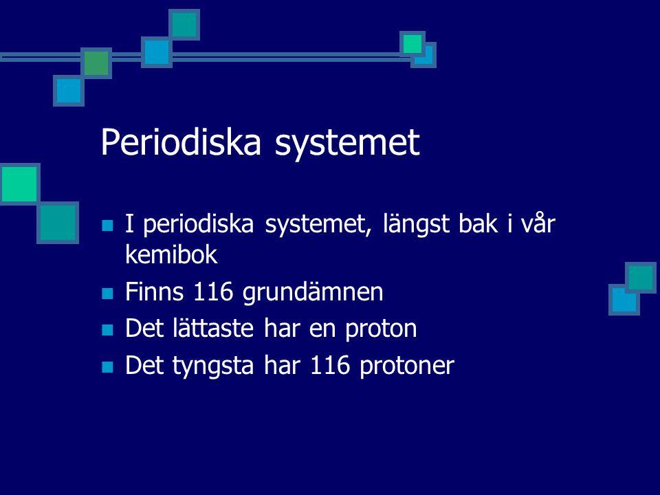 Periodiska systemet I periodiska systemet, längst bak i vår kemibok Finns 116 grundämnen Det lättaste har en proton Det tyngsta har 116 protoner