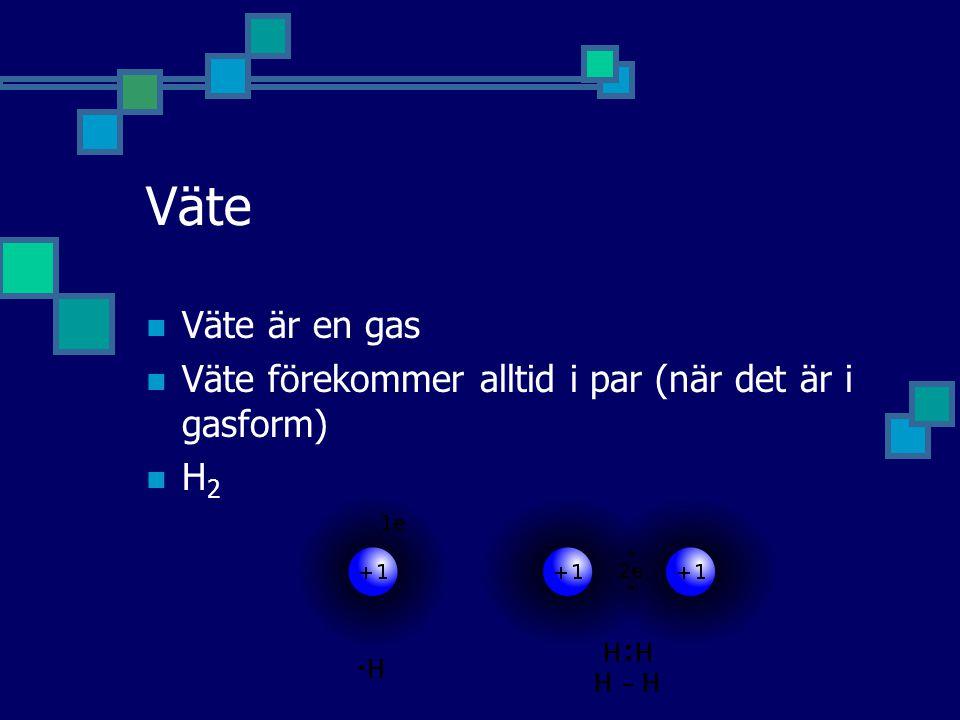 Väte Väte är en gas Väte förekommer alltid i par (när det är i gasform) H 2