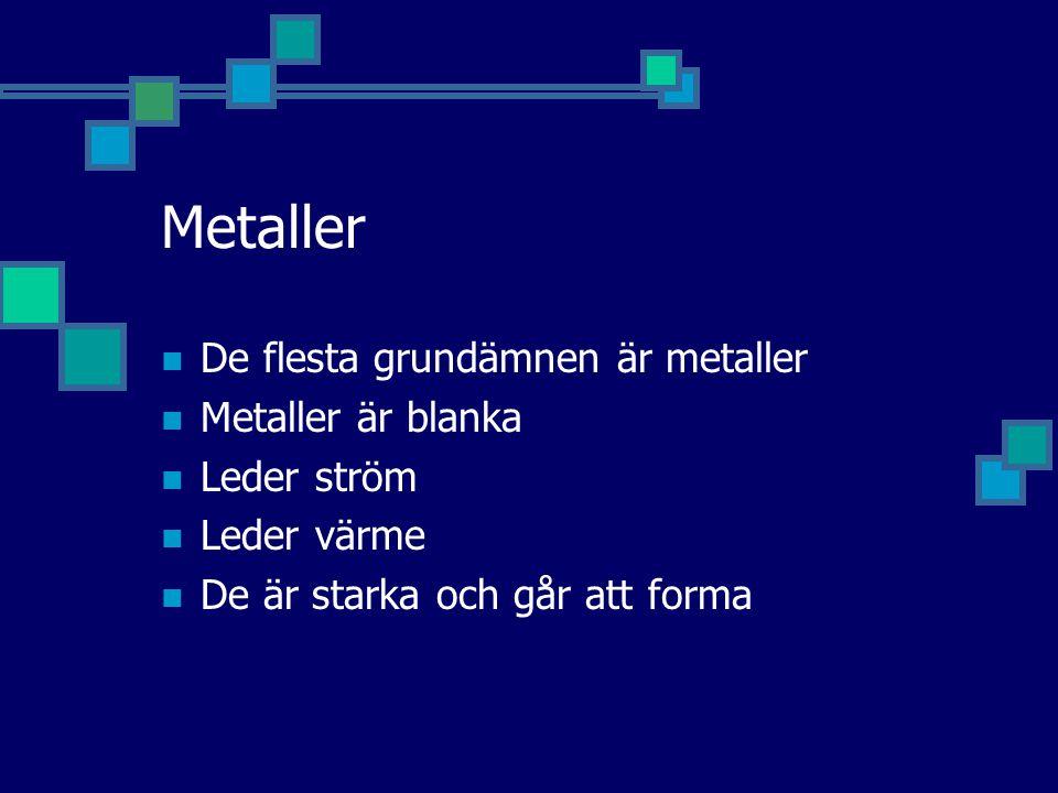 Metaller De flesta grundämnen är metaller Metaller är blanka Leder ström Leder värme De är starka och går att forma