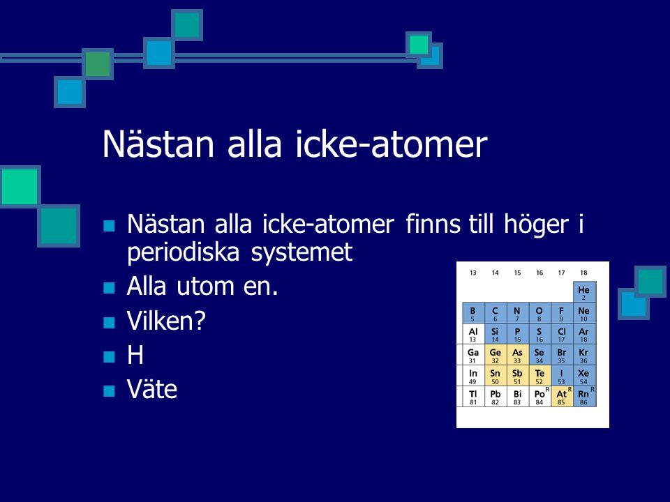 Nästan alla icke-atomer Nästan alla icke-atomer finns till höger i periodiska systemet Alla utom en. Vilken? H Väte