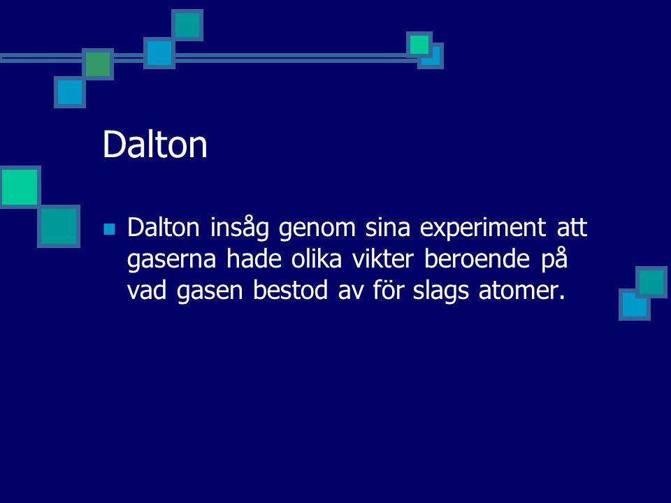 Dalton Dalton insåg genom sina experiment att gaserna hade olika vikter beroende på vad gasen bestod av för slags atomer.