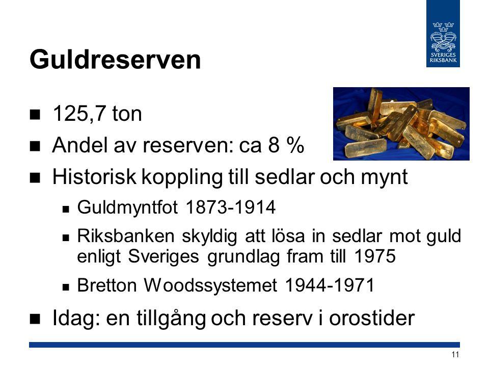 Guldreserven 125,7 ton Andel av reserven: ca 8 % Historisk koppling till sedlar och mynt Guldmyntfot 1873-1914 Riksbanken skyldig att lösa in sedlar m