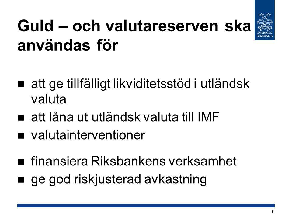 Guld – och valutareserven ska användas för att ge tillfälligt likviditetsstöd i utländsk valuta att låna ut utländsk valuta till IMF valutainterventio