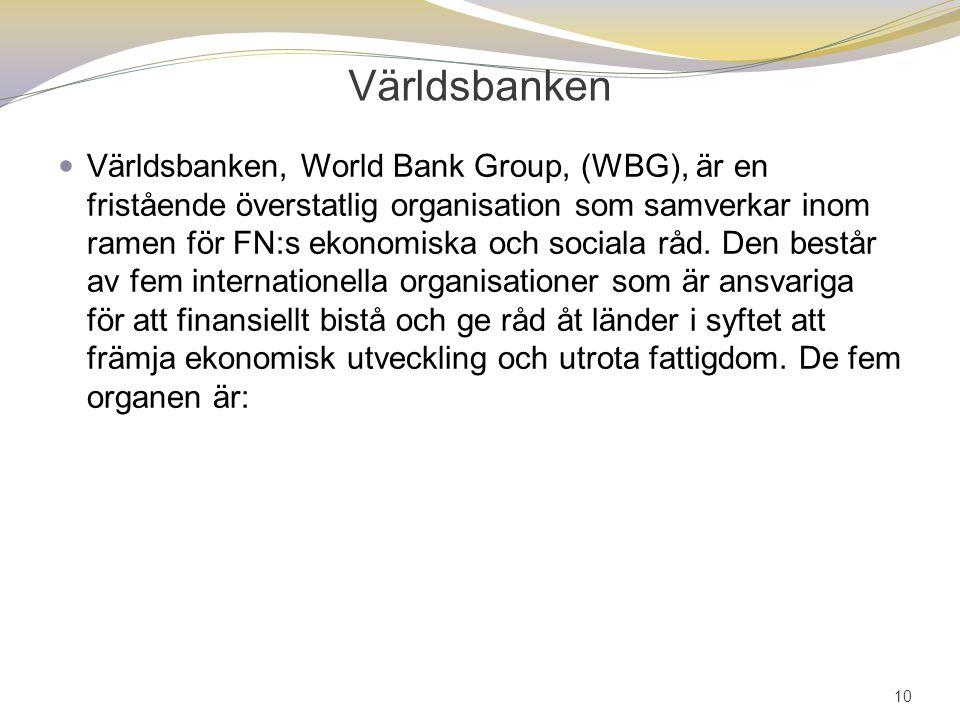 Världsbanken Världsbanken, World Bank Group, (WBG), är en fristående överstatlig organisation som samverkar inom ramen för FN:s ekonomiska och sociala