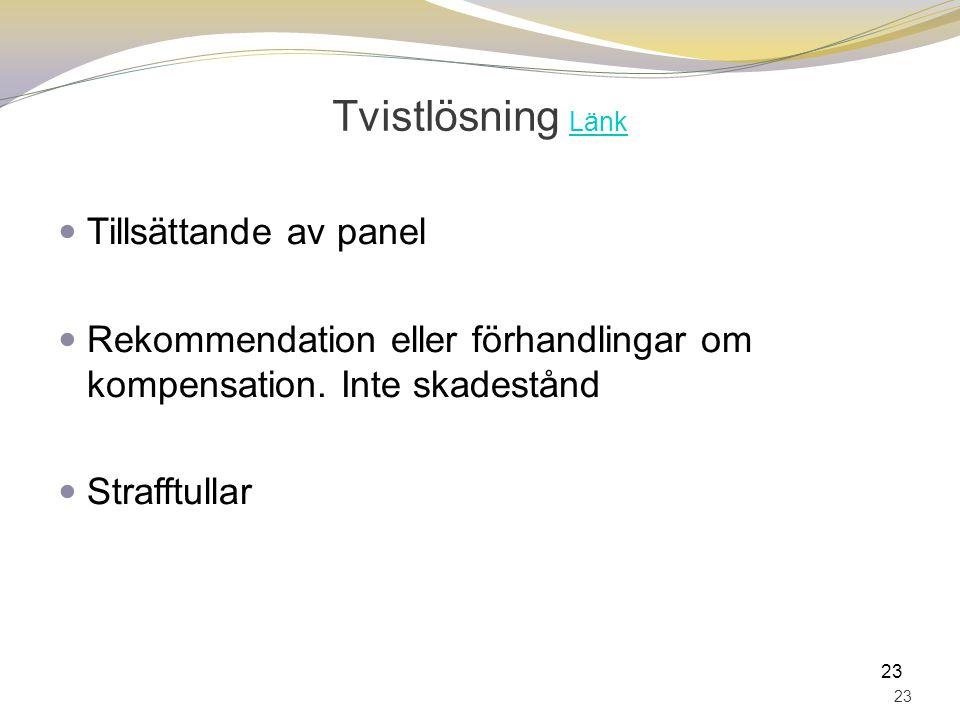 Tvistlösning Länk Länk Tillsättande av panel Rekommendation eller förhandlingar om kompensation. Inte skadestånd Strafftullar 23