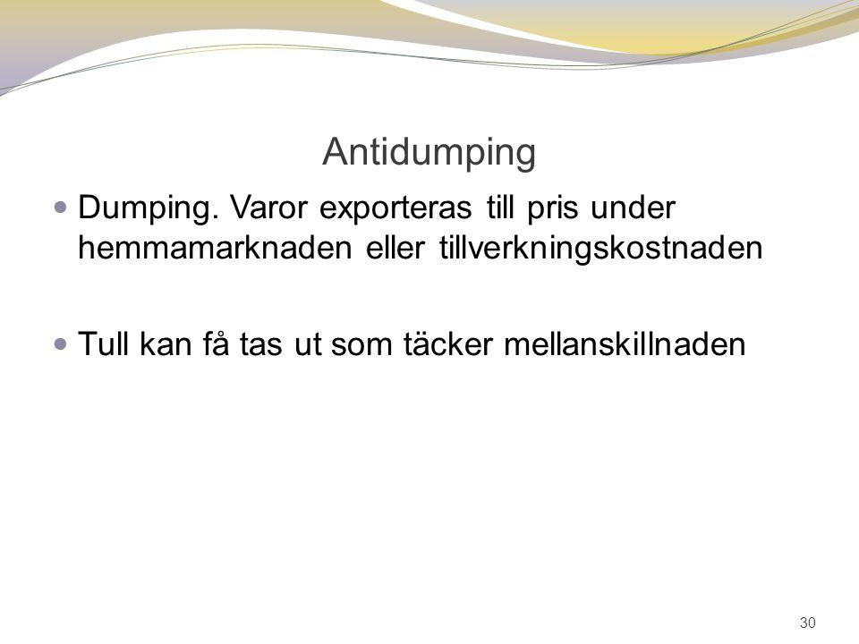 Antidumping Dumping. Varor exporteras till pris under hemmamarknaden eller tillverkningskostnaden Tull kan få tas ut som täcker mellanskillnaden 30