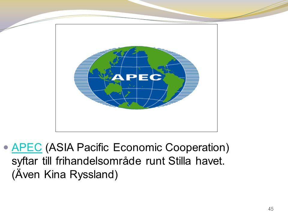45 APEC (ASIA Pacific Economic Cooperation) syftar till frihandelsområde runt Stilla havet. (Även Kina Ryssland) APEC