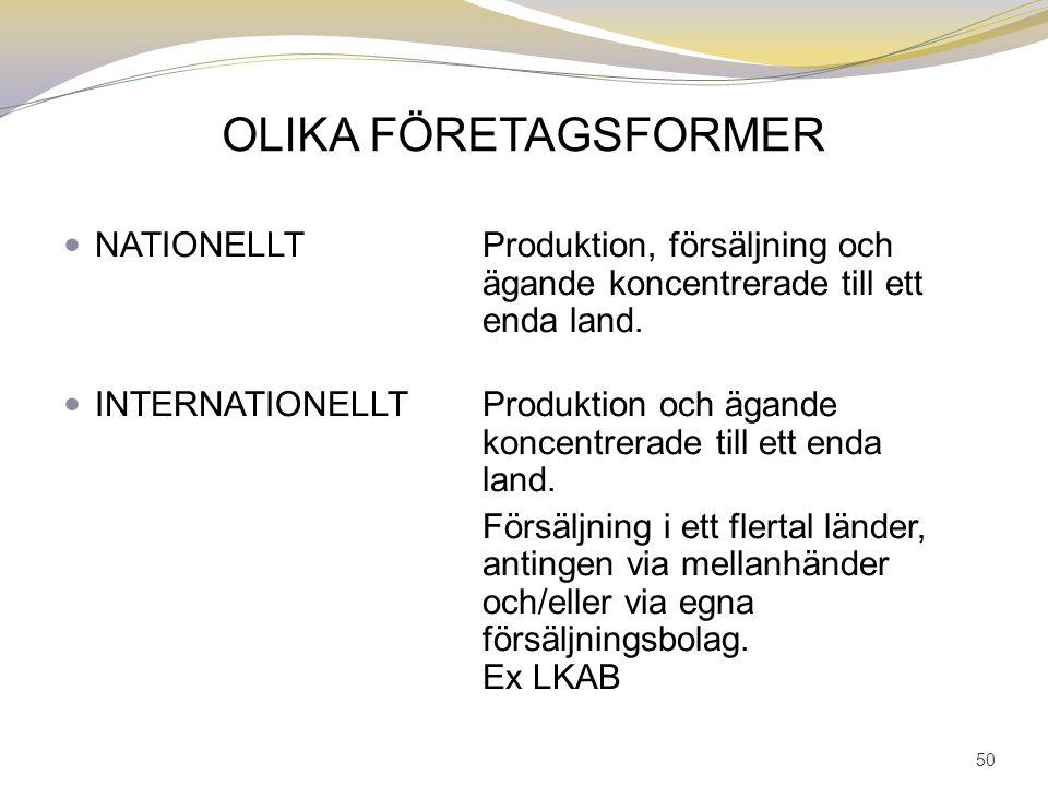 OLIKA FÖRETAGSFORMER NATIONELLTProduktion, försäljning och ägande koncentrerade till ett enda land. INTERNATIONELLTProduktion och ägande koncentrerade