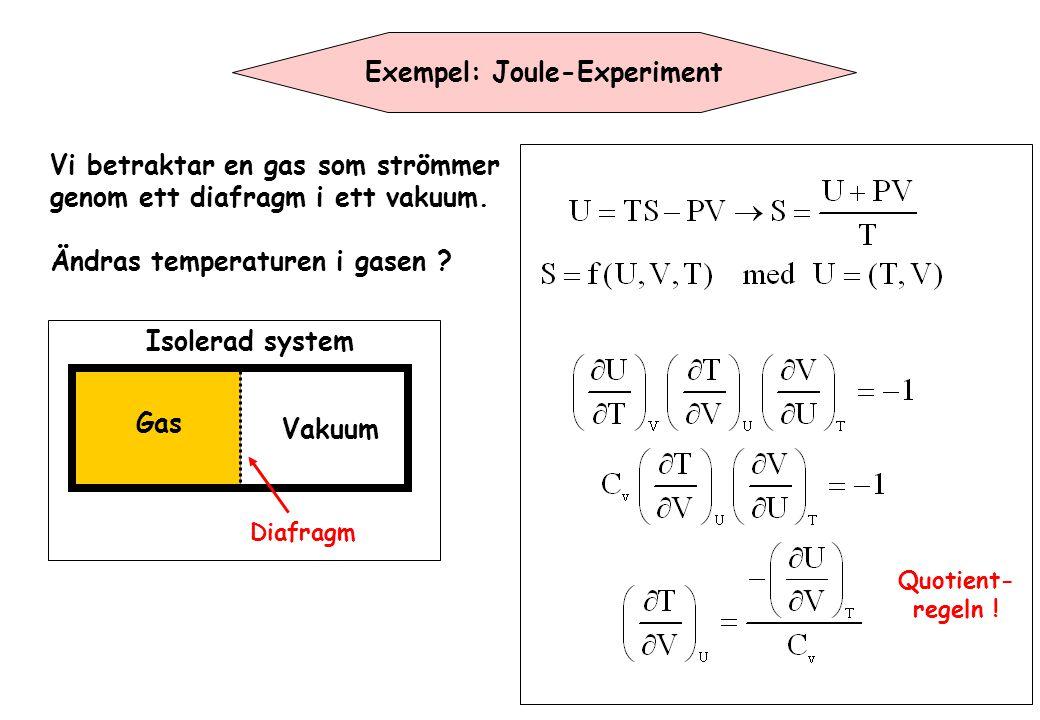 Exempel: Joule-Experiment Gas Vakuum Vi betraktar en gas som strömmer genom ett diafragm i ett vakuum. Ändras temperaturen i gasen ? Diafragm Isolerad