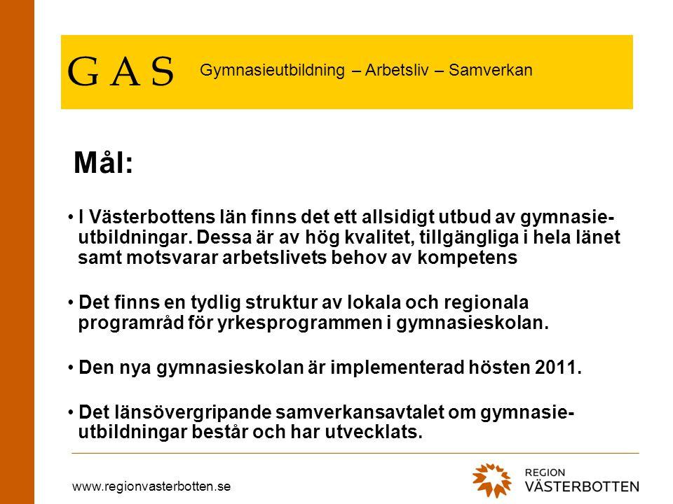 www.regionvasterbotten.se G A S Gymnasieutbildningarna har fått sin rättmätiga roll i regionalt utvecklingsarbete.