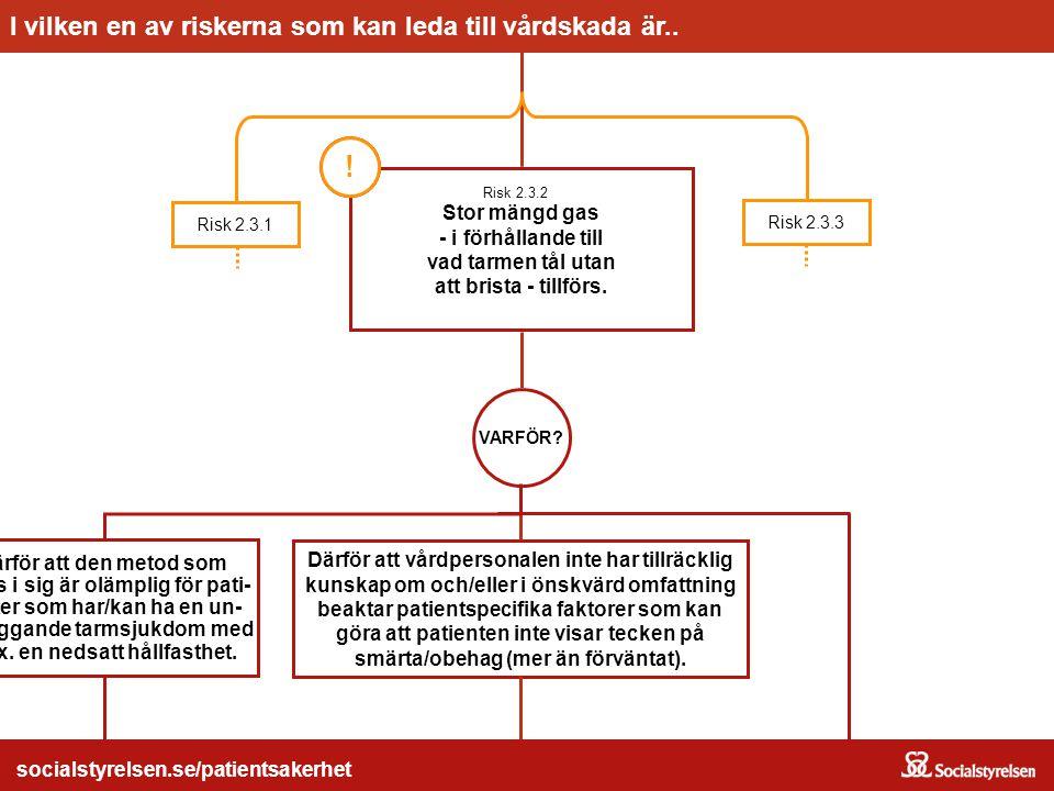Stor mängd gas - i förhållande till vad tarmen tål utan att brista - tillförs. 2.3.2 Risk 2.3.3 Risk 2.3.1 Risken... socialstyrelsen.se/patientsakerhe