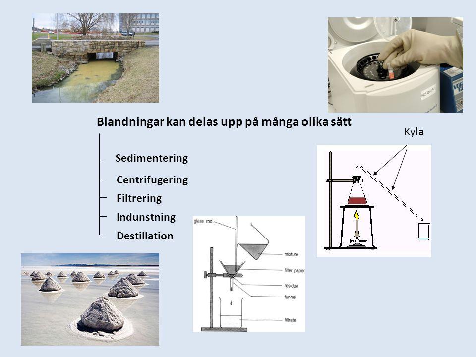 Sedimentering Centrifugering Filtrering Indunstning Destillation Blandningar kan delas upp på många olika sätt Kyla