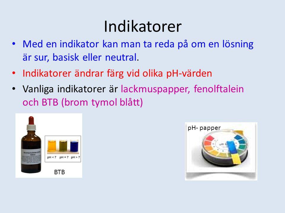 Indikatorer Med en indikator kan man ta reda på om en lösning är sur, basisk eller neutral. Indikatorer ändrar färg vid olika pH-värden Vanliga indika