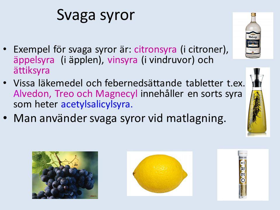 Svaga syror Exempel för svaga syror är: citronsyra (i citroner), äppelsyra (i äpplen), vinsyra (i vindruvor) och ättiksyra Vissa läkemedel och febernedsättande tabletter t.ex.