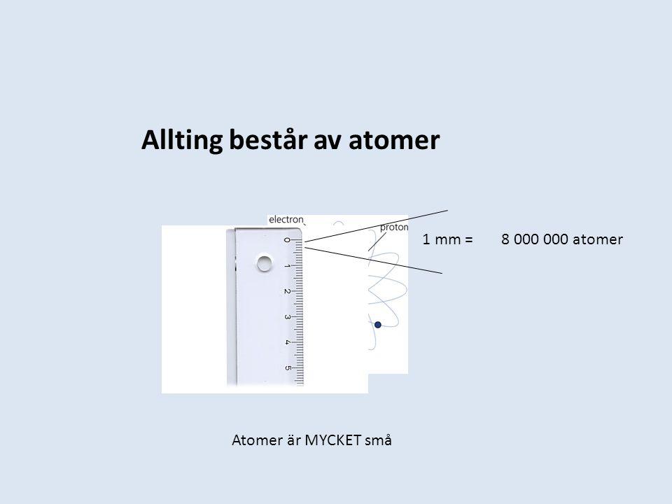 Allting består av atomer 1 mm = 8 000 000 atomer Atomer är MYCKET små