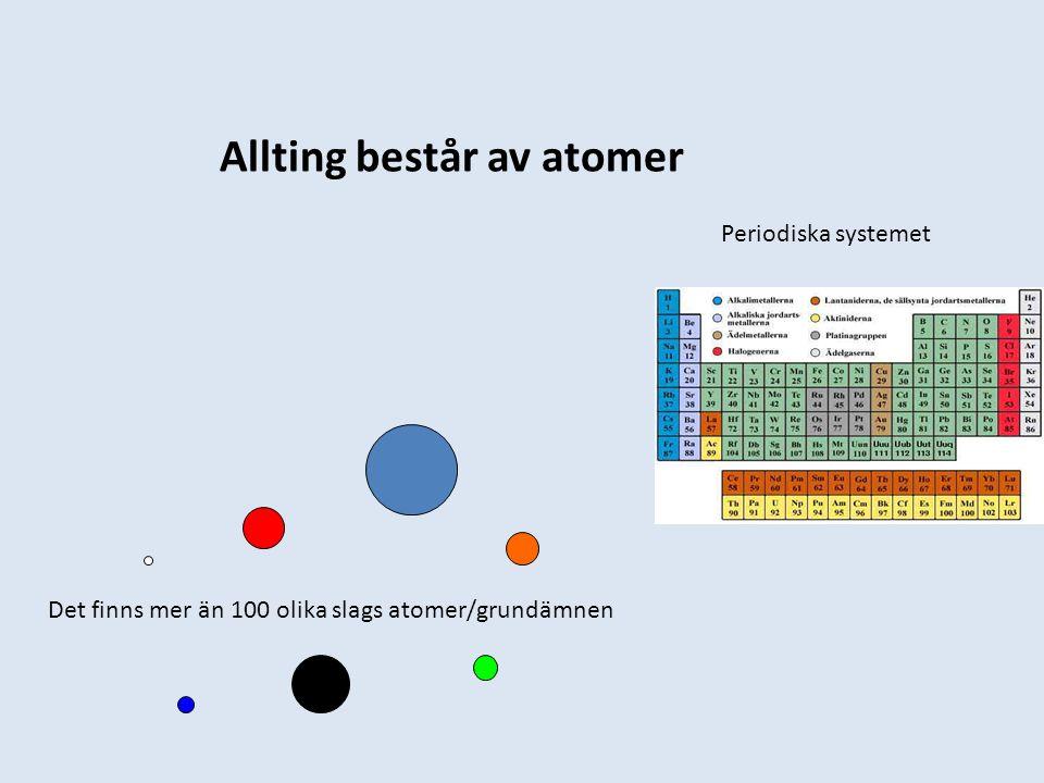 Allting består av atomer Periodiska systemet Det finns mer än 100 olika slags atomer/grundämnen