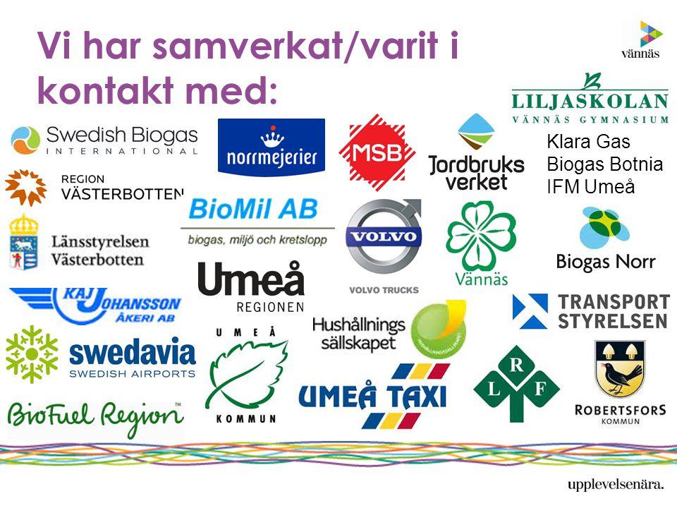 Vi har samverkat/varit i kontakt med: Klara Gas Biogas Botnia IFM Umeå