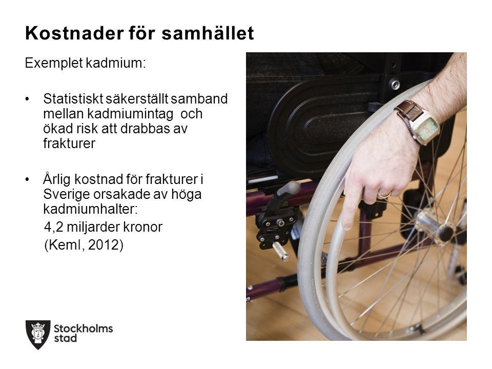 Exemplet kadmium: Statistiskt säkerställt samband mellan kadmiumintag och ökad risk att drabbas av frakturer Årlig kostnad för frakturer i Sverige ors
