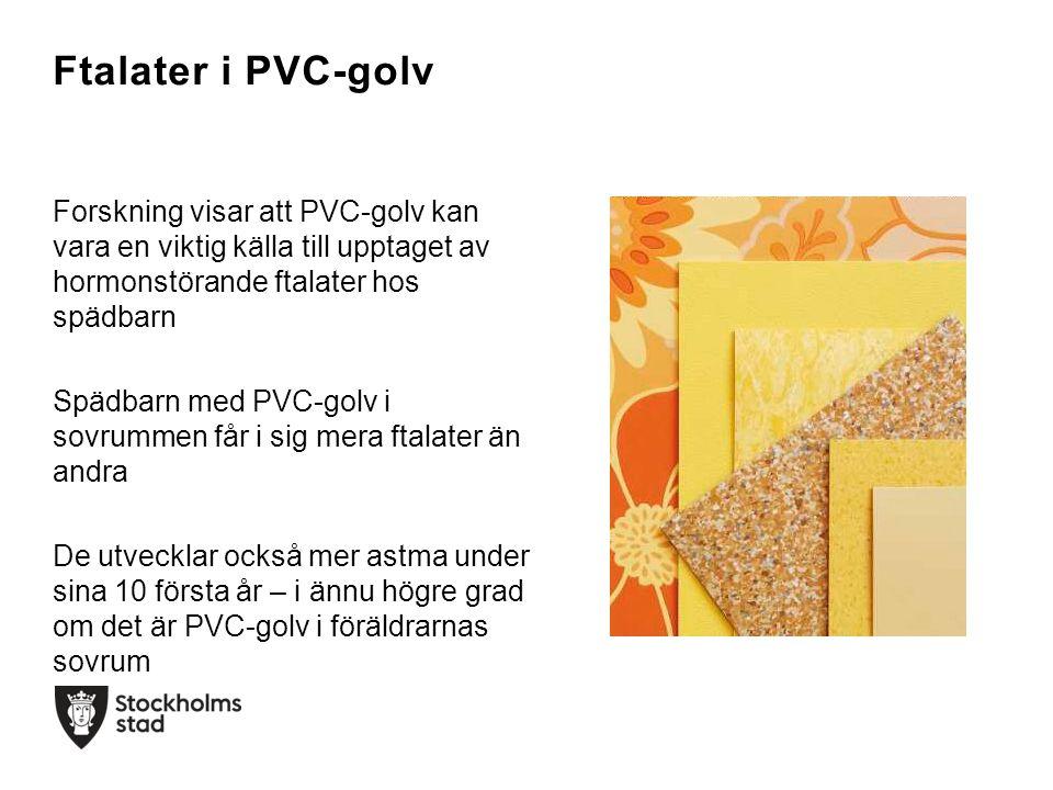 Ftalater i PVC-golv Forskning visar att PVC-golv kan vara en viktig källa till upptaget av hormonstörande ftalater hos spädbarn Spädbarn med PVC-golv