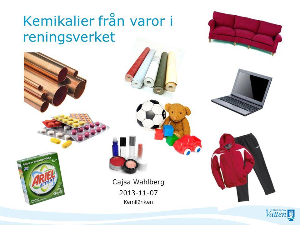 Kemikalier från varor i reningsverket Cajsa Wahlberg 2013-11-07 Kemilänken