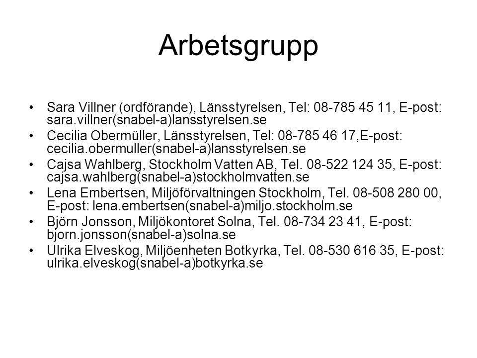 Arbetsgrupp Sara Villner (ordförande), Länsstyrelsen, Tel: 08-785 45 11, E-post: sara.villner(snabel-a)lansstyrelsen.se Cecilia Obermüller, Länsstyrel