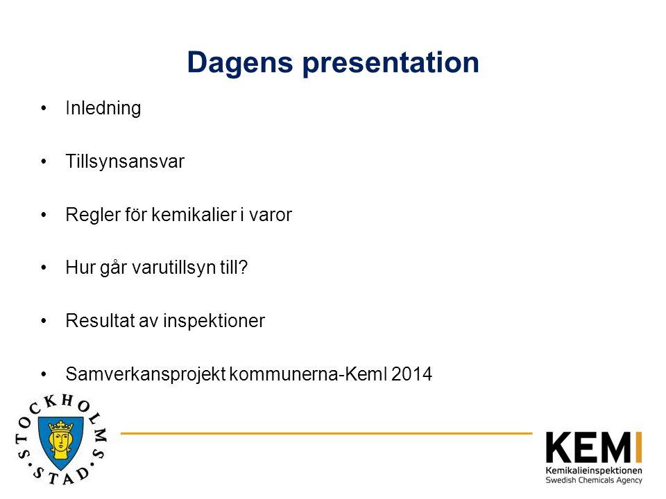 Dagens presentation Inledning Tillsynsansvar Regler för kemikalier i varor Hur går varutillsyn till? Resultat av inspektioner Samverkansprojekt kommun