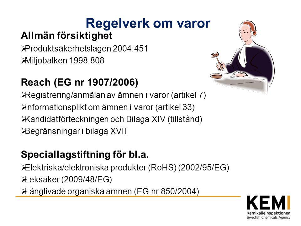 Regelverk om varor Allmän försiktighet  Produktsäkerhetslagen 2004:451  Miljöbalken 1998:808 Reach (EG nr 1907/2006)  Registrering/anmälan av ämnen