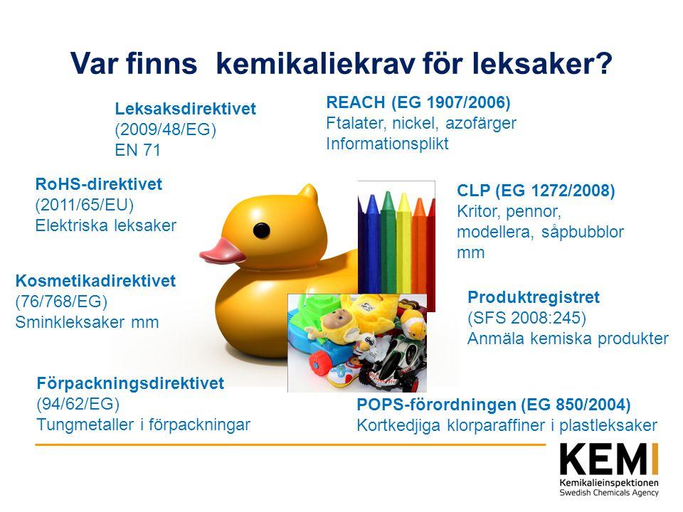 Var finns kemikaliekrav för leksaker? Leksaksdirektivet (2009/48/EG) EN 71 REACH (EG 1907/2006) Ftalater, nickel, azofärger Informationsplikt RoHS-dir