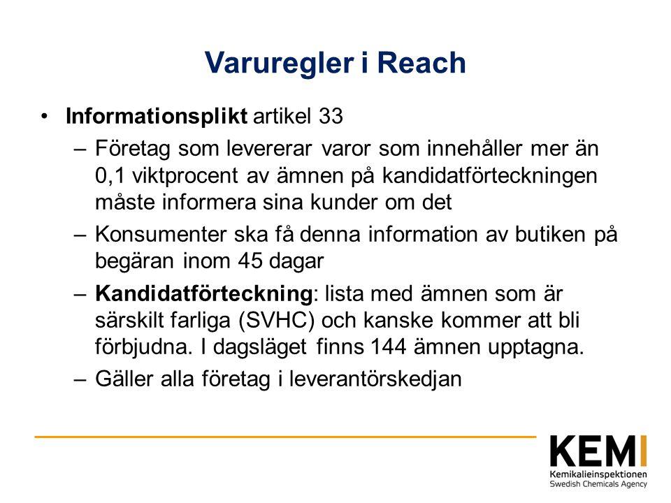 Varuregler i Reach Informationsplikt artikel 33 –Företag som levererar varor som innehåller mer än 0,1 viktprocent av ämnen på kandidatförteckningen m