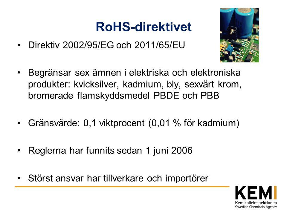RoHS-direktivet Direktiv 2002/95/EG och 2011/65/EU Begränsar sex ämnen i elektriska och elektroniska produkter: kvicksilver, kadmium, bly, sexvärt kro