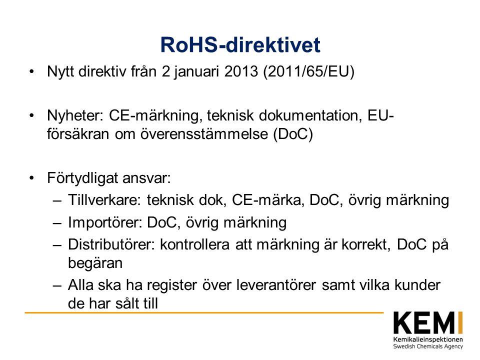 RoHS-direktivet Nytt direktiv från 2 januari 2013 (2011/65/EU) Nyheter: CE-märkning, teknisk dokumentation, EU- försäkran om överensstämmelse (DoC) Fö