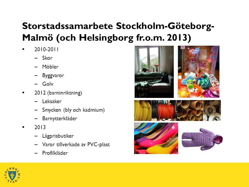 Storstadssamarbete Stockholm-Göteborg- Malmö (och Helsingborg fr.o.m. 2013)  2010-2011 – Skor – Möbler – Byggvaror – Golv  2012 (barninriktning) – L