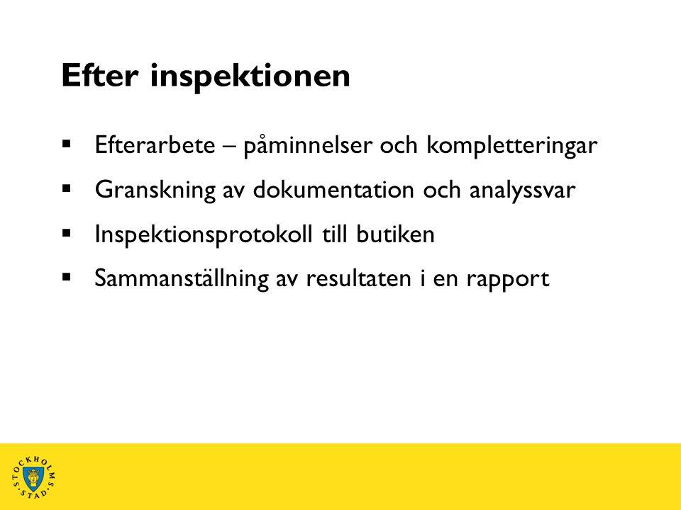 Efter inspektionen  Efterarbete – påminnelser och kompletteringar  Granskning av dokumentation och analyssvar  Inspektionsprotokoll till butiken 