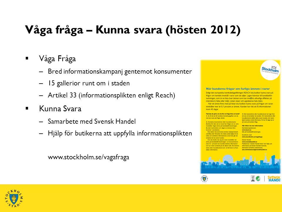 Våga fråga – Kunna svara (hösten 2012)  Våga Fråga – Bred informationskampanj gentemot konsumenter – 15 gallerior runt om i staden – Artikel 33 (info