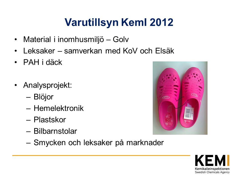 Varutillsyn KemI 2012 Material i inomhusmiljö – Golv Leksaker – samverkan med KoV och Elsäk PAH i däck Analysprojekt: –Blöjor –Hemelektronik –Plastsko