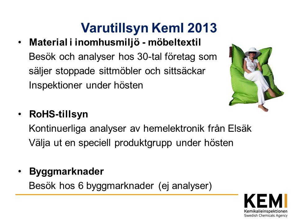 Varutillsyn KemI 2013 Material i inomhusmiljö - möbeltextil Besök och analyser hos 30-tal företag som säljer stoppade sittmöbler och sittsäckar Inspek