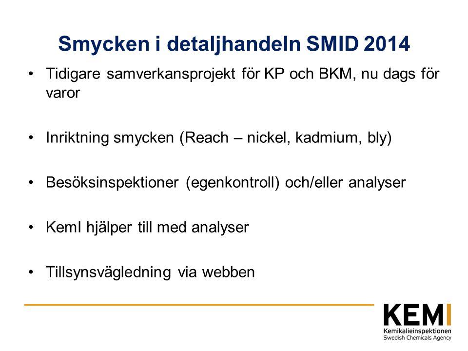 Smycken i detaljhandeln SMID 2014 Tidigare samverkansprojekt för KP och BKM, nu dags för varor Inriktning smycken (Reach – nickel, kadmium, bly) Besök