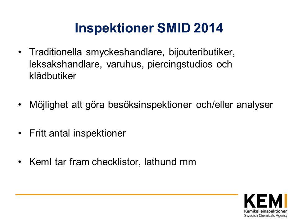 Inspektioner SMID 2014 Traditionella smyckeshandlare, bijouteributiker, leksakshandlare, varuhus, piercingstudios och klädbutiker Möjlighet att göra b