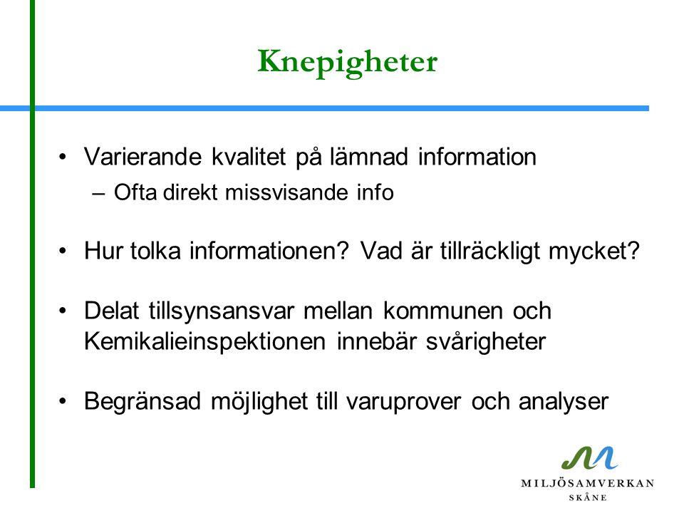 Knepigheter Varierande kvalitet på lämnad information –Ofta direkt missvisande info Hur tolka informationen? Vad är tillräckligt mycket? Delat tillsyn