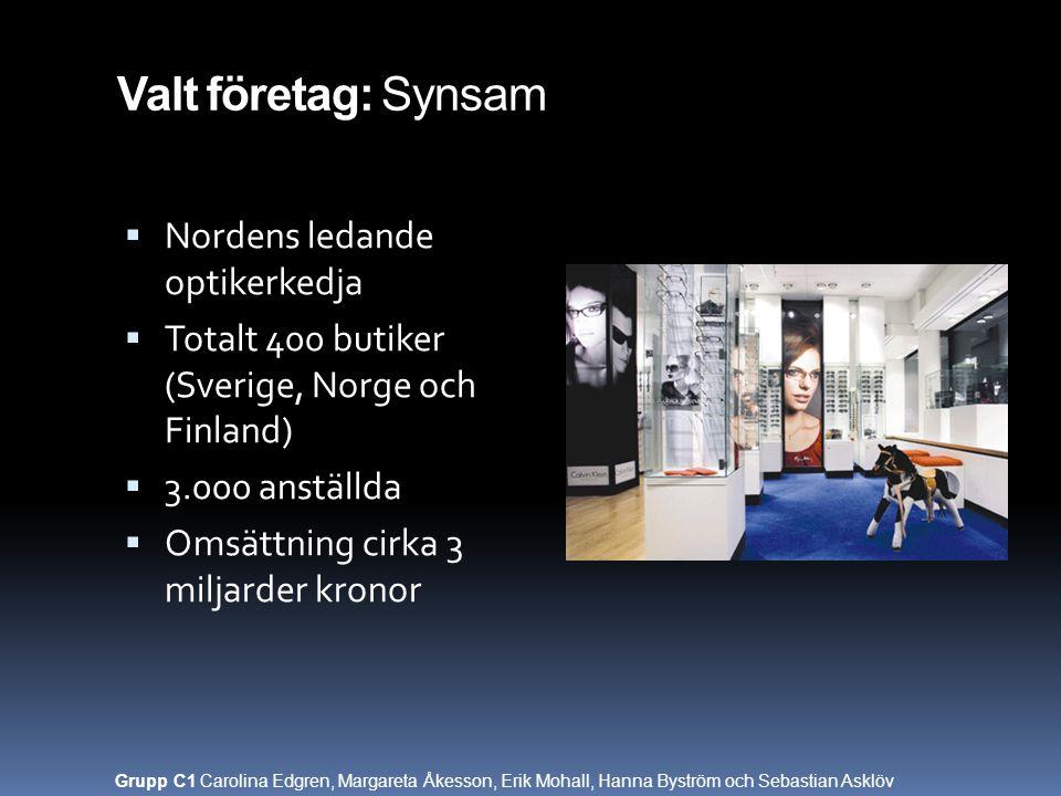 Valt företag: Synsam  Nordens ledande optikerkedja  Totalt 400 butiker (Sverige, Norge och Finland)  3.000 anställda  Omsättning cirka 3 miljarder
