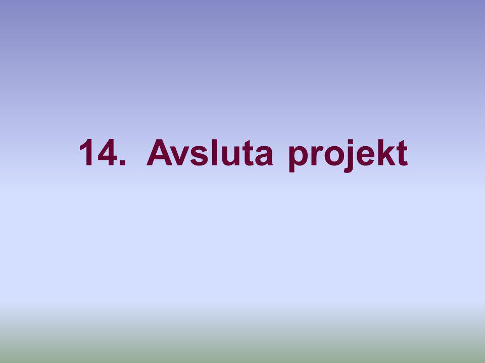 14. Avsluta projekt