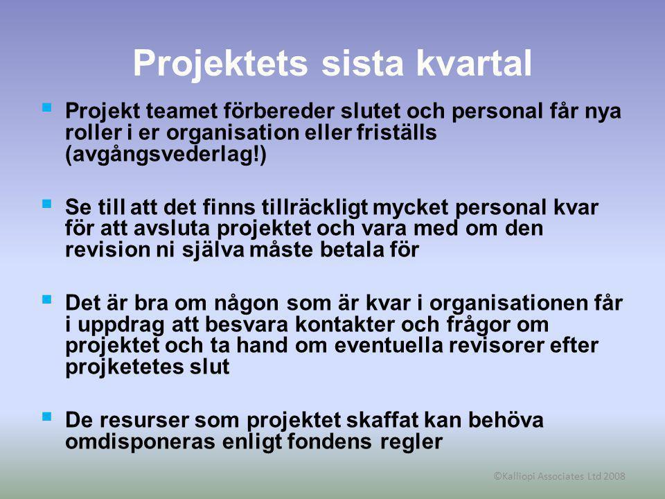 ©Kalliopi Associates Ltd 2008 Projektets sista kvartal  Projekt teamet förbereder slutet och personal får nya roller i er organisation eller friställ