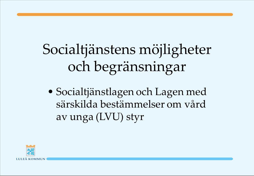 Socialtjänstens möjligheter och begränsningar Socialtjänstlagen och Lagen med särskilda bestämmelser om vård av unga (LVU) styr